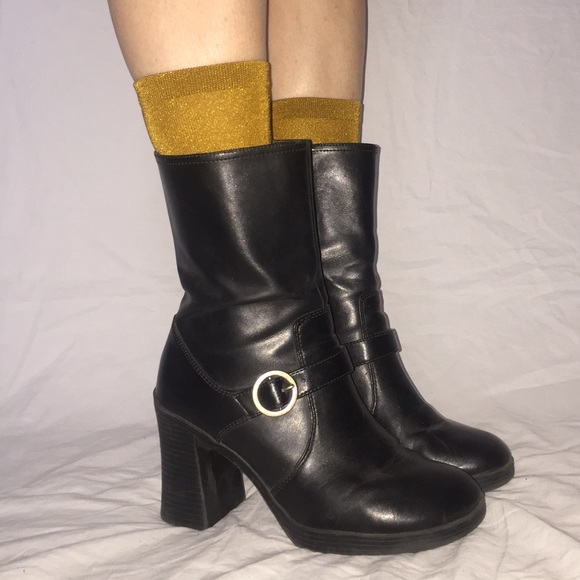 2058501e915 Vintage 90s Chunky Heel Black Boots